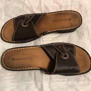 Brown heeled slide sandals